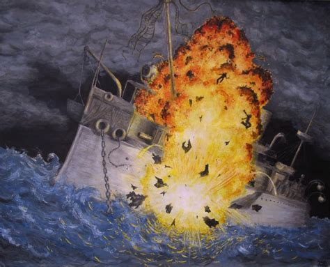 The Sinking Of The Maine by Six Foot Long Model Of The Uss Maine A535 Sold Early