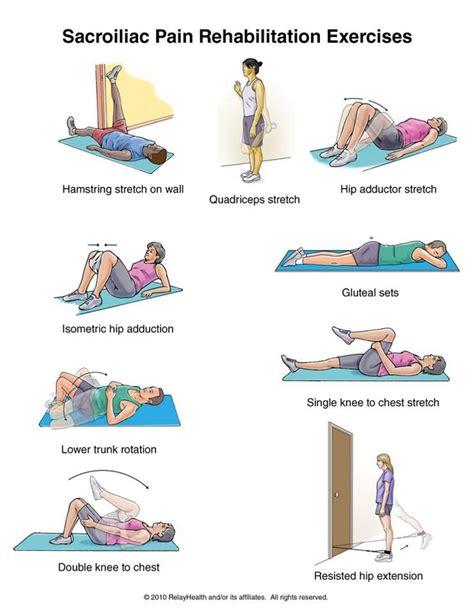 printable hip flexor stretches sacroiliac pain rehab exercises health fitness
