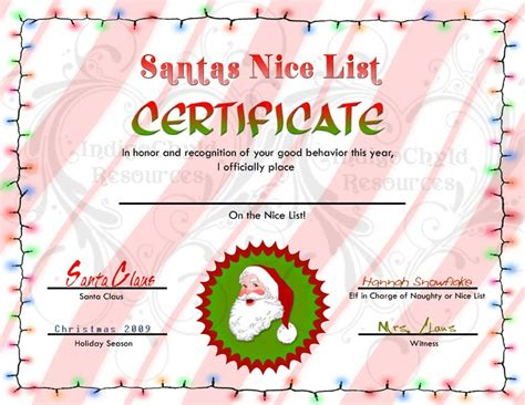 santa certificate template indigo chyld resources letters and certificates