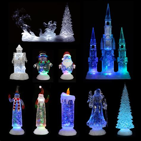 colour changing led light glitter water christmas ornament