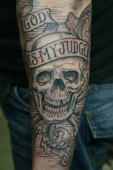 skull god is my judge tattoo by corey miller tattoo
