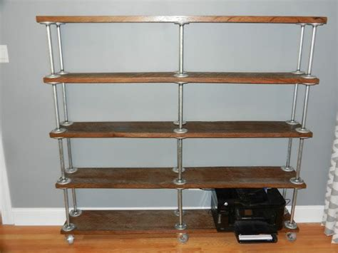 easy free standing pipe shelf idea on crafter meets