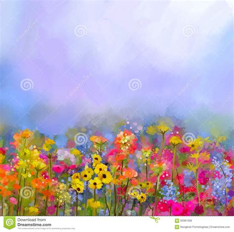 spring paint abstract art oil painting of summer spring flower meadow