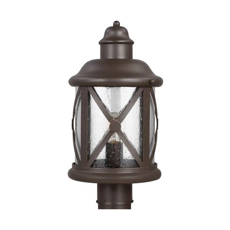 Sea Gull Lighting Sea Gull Lighting Lakeview 1 Light Antique Bronze Outdoor Post Top 8221401 71 The Home Depot