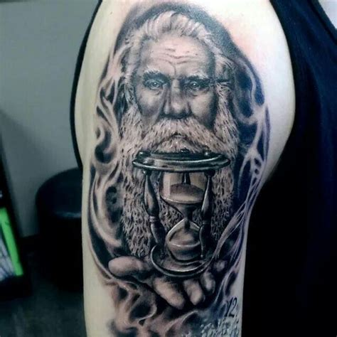 father time tattoo by pete terranova hand sleeve