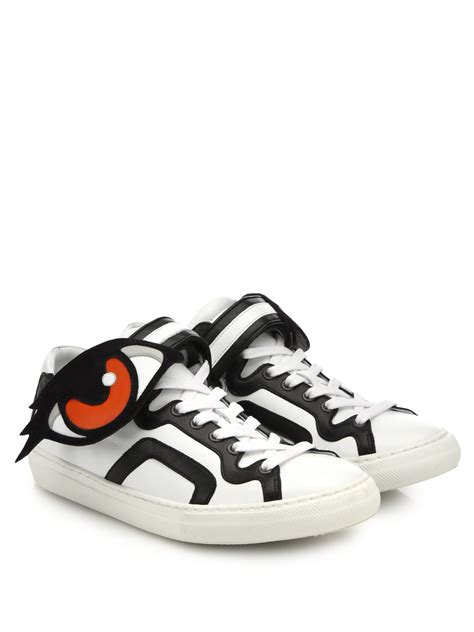 lyst hardy eye paneled leather sneakers in white