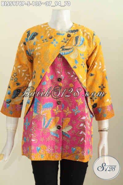 baju blus batik kuning kombinasi pink baju batik wanita