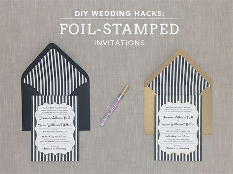 Wedding Invitation Hacks by Diy Foil Sted Wedding Invitation With Bold Stripes