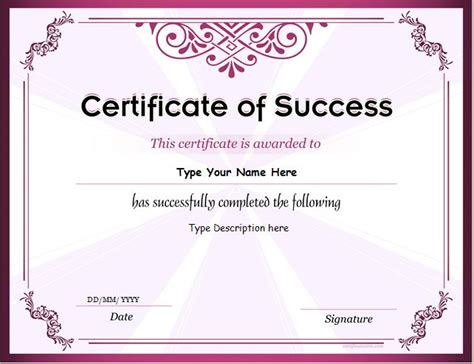 free success card templates business certificate templates for ms word professional
