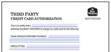Hotel Credit Card Authorization Form Template by Best Western Credit Card Authorization Form