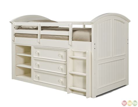 lofted twin bed summer breeze simple white cottage mid loft twin bed