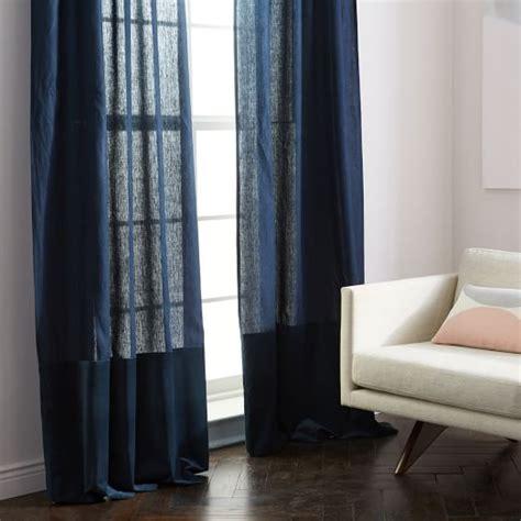 Midnight Blue Curtains Designs Belgian Flax Linen Velvet Colorblock Curtain Midnight Regal Blue West Elm