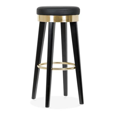 Black Wooden Bar Stool Fusion Wooden Bar Stool With Metal Ring Black Gold 75cm