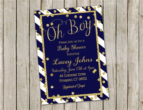 Navy Baby Shower by Navy Gold Baby Shower Invitations Navy Blue Stripe Glitter
