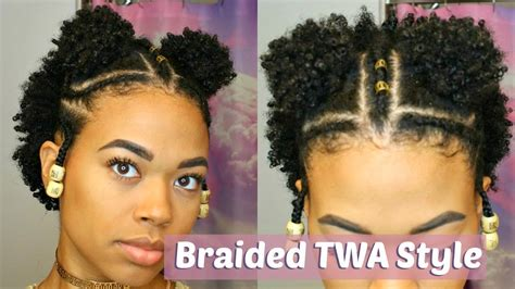 natural hair after five styles double puff braided twa style type 4 natural hair youtube