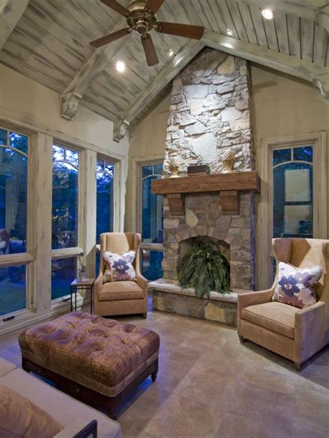 fire place in sun room sunrooms with fireplaces houzz