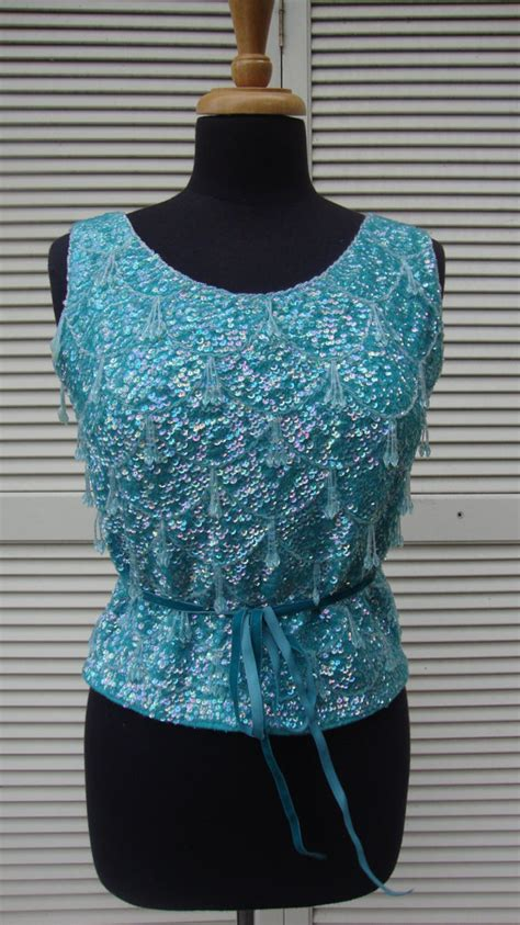 beaded and sequined tops 1950 s 60 s vintage macy s aqua beaded top sequined by
