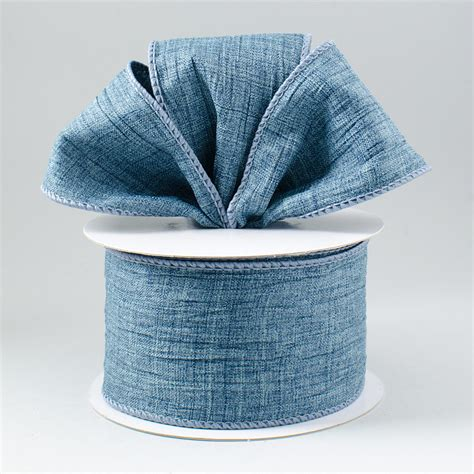 Denim Ribbon 2 5 quot crushed canvas ribbon denim blue 10 yards rt16