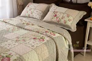 Quilted Coverlet King Queen Country Floral Patchwork Quilted Cotton Coverlet