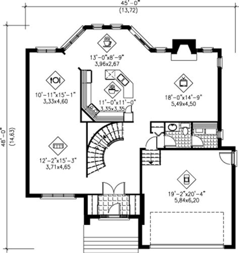 48 square feet 2575 sq ft house plan 25 4240 45 w x 48 d main floor