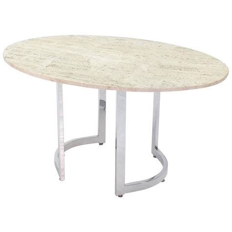 Oval Travertine Top Dining Table On Chrome Base For Sale Travertine Top Dining Table