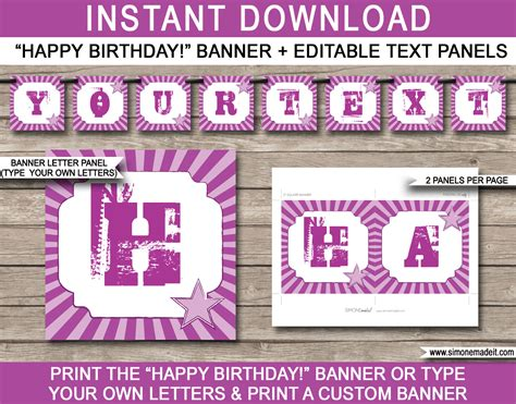 free printable birthday banner purple rock star party banner template birthday banner