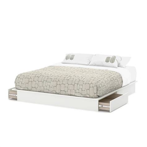 White King Platform Bed South Shore Step One King Platform W Headboard Drawers White Bed Ebay