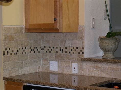 travertine backsplash with mosaic glass tile accent home