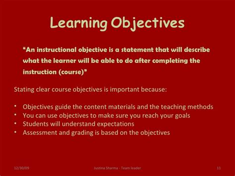 statement of educational objectives e learning objectives