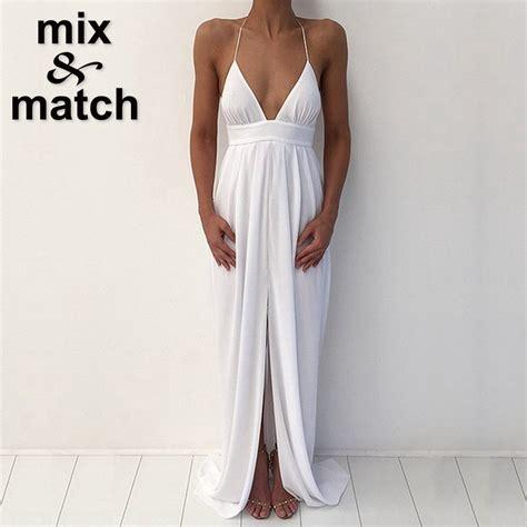 white v neck cutout back chiffon maxi dress casual dresseswomen elegant sexy white dress deep v neck front long slit