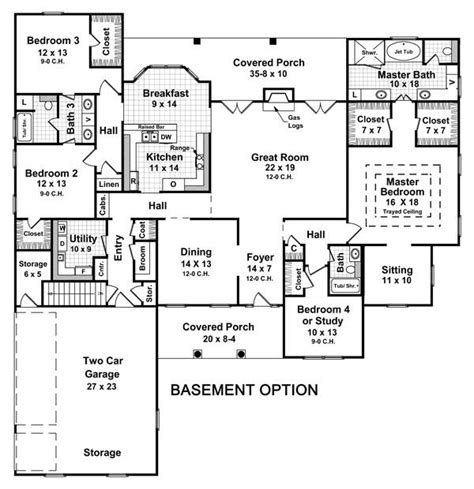 3 Bedroom Floor Plans With Basement | 3 bedroom house plans with basement smalltowndjs com