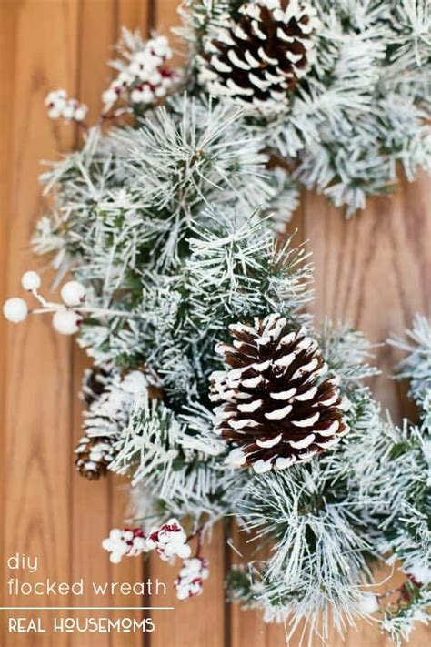 Diy Winter Wreaths For Front Door Diy Flocked Wreath Real Housemoms