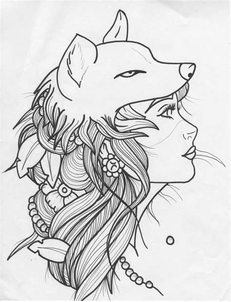 Wolf Zentangle Outline by Wolf Headdress Bad Wolf And Zentangles