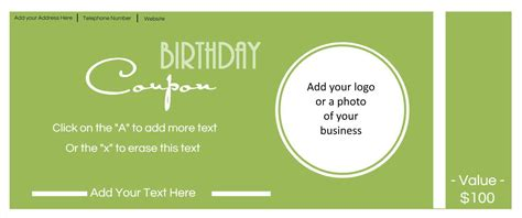 birthday coupon card template free custom birthday coupons customize print at