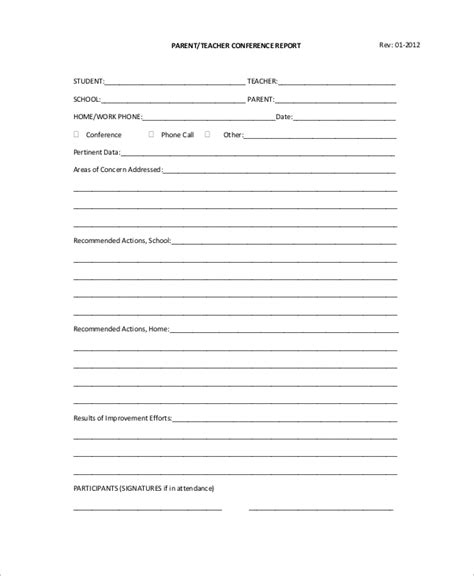 sle parent teacher conference form 9 exles in