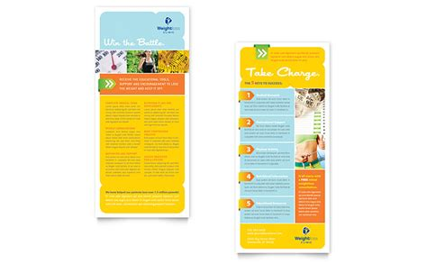 Rack Card Dimensions by Weight Loss Clinic Rack Card Template Word Publisher