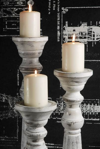 White Candle Holder Set Wood Pillar Candle Holder White Set Of 3