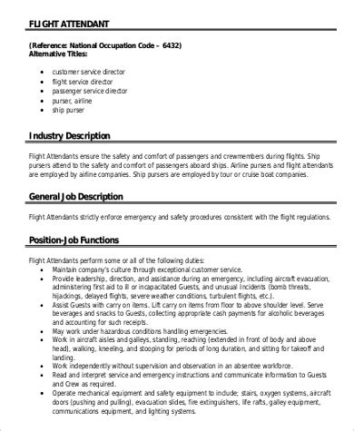 flight attendant job description 0 flight attendant job