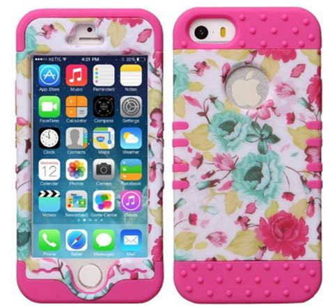 Softcase Flower Gril For Iphone5 pink flower silicone for apple iphone 5 5s aumi hybrid impact coverbest