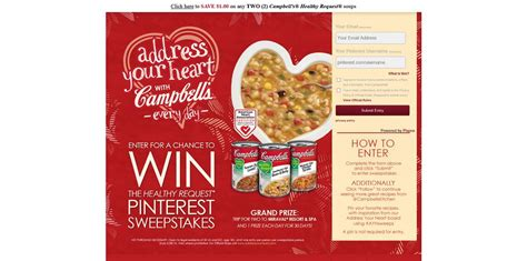 Pinterest Sweepstakes - cbell s healthy request pinterest sweepstakes