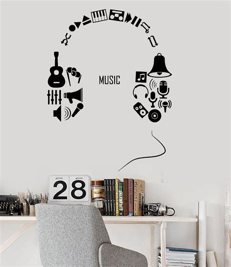 music decals for bedroom vinyl wall decal headphones music musical teen room decor