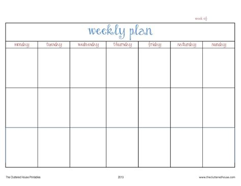 week organizer template week plan