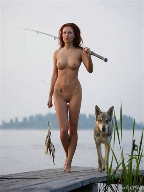 wild and sexy girl was going fishing naked with a wolf she is slim
