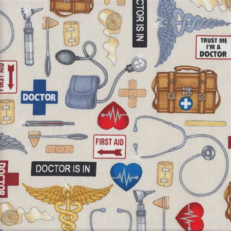 doctors supplies hospital on quilting fabric