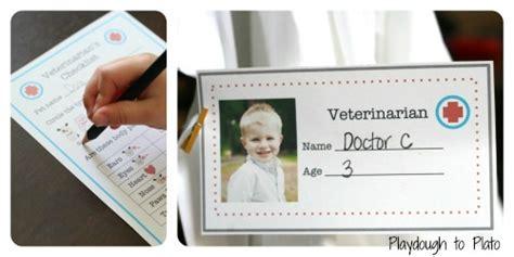 Pretend Play Veterinarian Badge Template