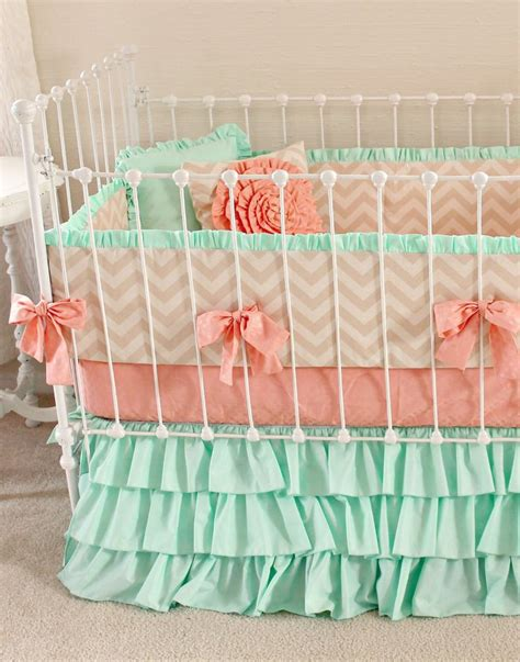 Mint Peach Baby Bedding Girl Crib Bedding Baby Girl Coral Chevron Crib Bedding