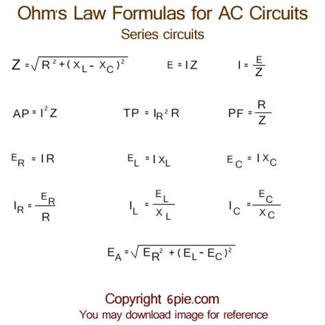 parallel circuits formulas ohm s formulas for ac alternating current circuits