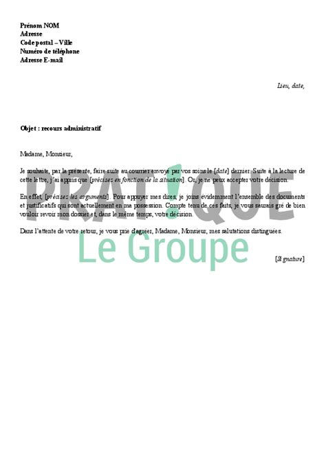 Lettre De Recours Gracieux Pour Refus De Visa Touristique lettre de recours administratif pratique fr