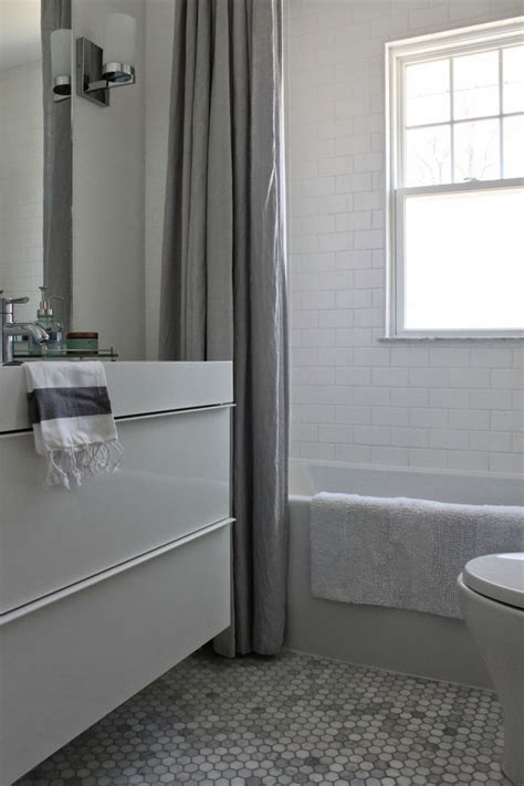 ikea subway tile modern jane bathroom renovation marble hexagon and white