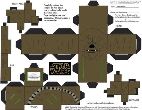 Wars Papercraft - sw5 chewbacca cubee by theflyingdachshund stuff